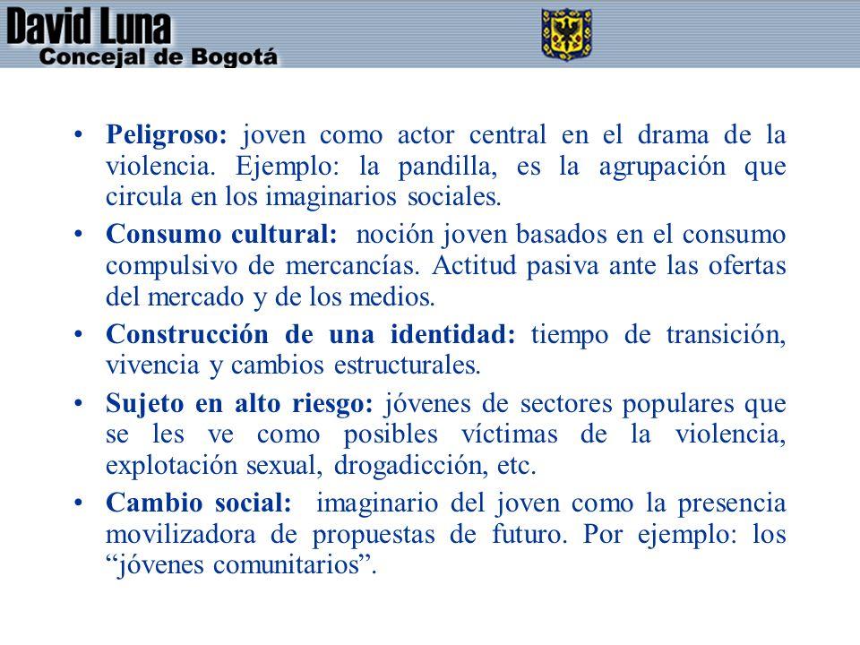 Peligroso: joven como actor central en el drama de la violencia. Ejemplo: la pandilla, es la agrupación que circula en los imaginarios sociales. Consu