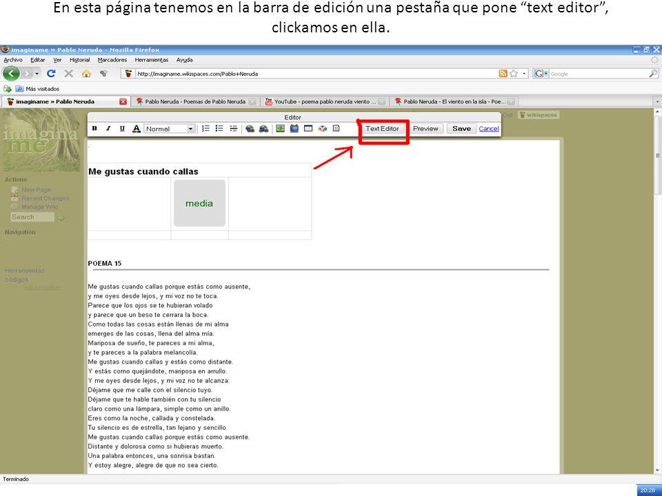 En esta página tenemos en la barra de edición una pestaña que pone text editor, clickamos en ella.