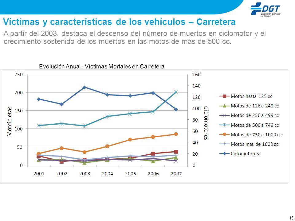 12 Víctimas y características de los vehículos – Carretera El número de víctimas mortales en carretera se concentra en los segmentos de los ciclomotor