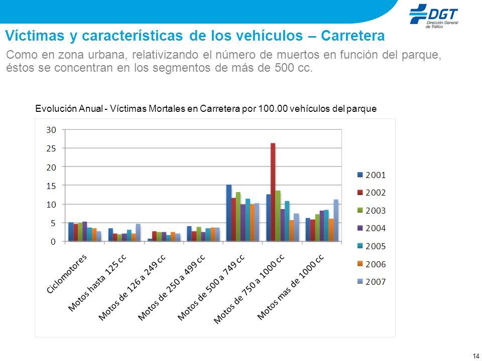 13 Víctimas y características de los vehículos – Carretera A partir del 2003, destaca el descenso del número de muertos en ciclomotor y el crecimiento