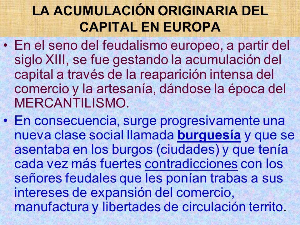 LA ACUMULACIÓN ORIGINARIA DEL CAPITAL EN EUROPA En el seno del feudalismo europeo, a partir del siglo XIII, se fue gestando la acumulación del capital