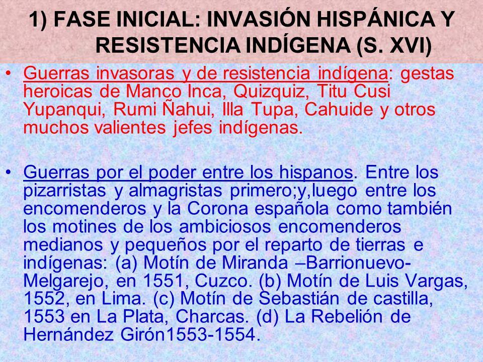 1) FASE INICIAL: INVASIÓN HISPÁNICA Y RESISTENCIA INDÍGENA (S. XVI) Guerras invasoras y de resistencia indígena: gestas heroicas de Manco Inca, Quizqu