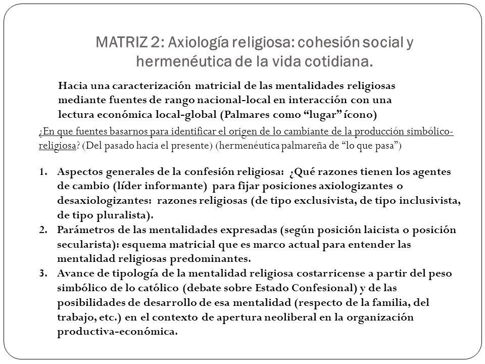 MATRIZ 2: Axiología religiosa: cohesión social y hermenéutica de la vida cotidiana. Hacia una caracterización matricial de las mentalidades religiosas