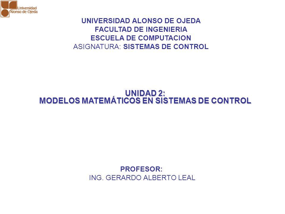 UNIDAD 2: MODELOS MATEMÁTICOS EN SISTEMAS DE CONTROL UNIDAD 2: MODELOS MATEMÁTICOS EN SISTEMAS DE CONTROL MODELO MATEMATICO Es una expresión que permite representar el comportamiento de un proceso físico en función de las variables que intervienen en dicho proceso.