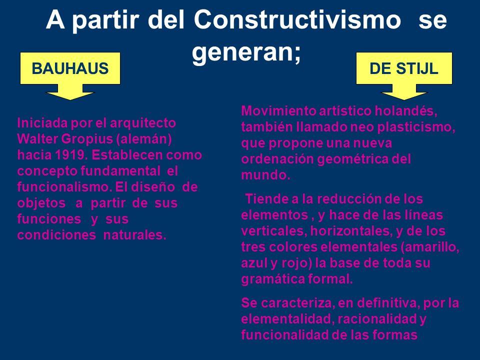 A partir del Constructivismo se generan; BAUHAUSDE STIJL Iniciada por el arquitecto Walter Gropius (alemán) hacia 1919. Establecen como concepto funda