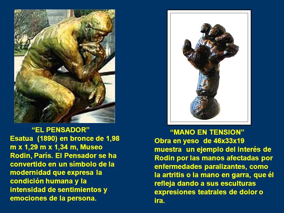 EL PENSADOR Esatua (1890) en bronce de 1,98 m x 1,29 m x 1,34 m, Museo Rodin, París. El Pensador se ha convertido en un símbolo de la modernidad que e
