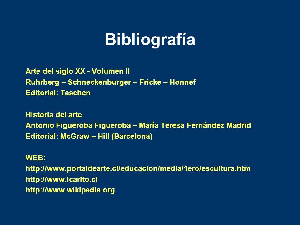 Bibliografía Arte del siglo XX - Volumen II Ruhrberg – Schneckenburger – Fricke – Honnef Editorial: Taschen Historia del arte Antonio Figueroba Figuer