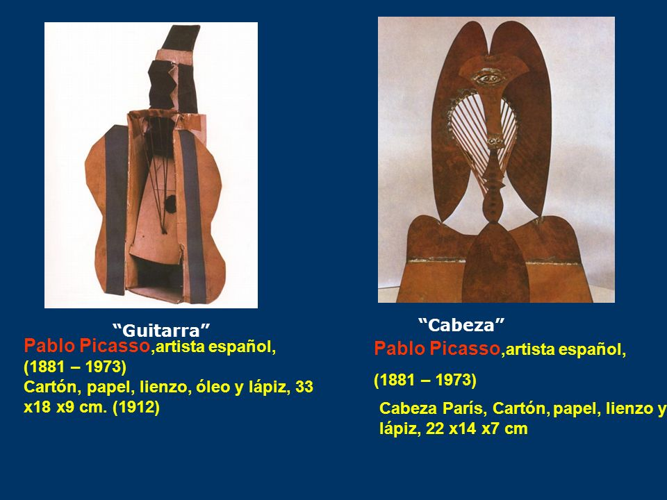 Guitarra Pablo Picasso,artista español, (1881 – 1973) Cartón, papel, lienzo, óleo y lápiz, 33 x18 x9 cm. (1912) Cabeza París, Cartón, papel, lienzo y