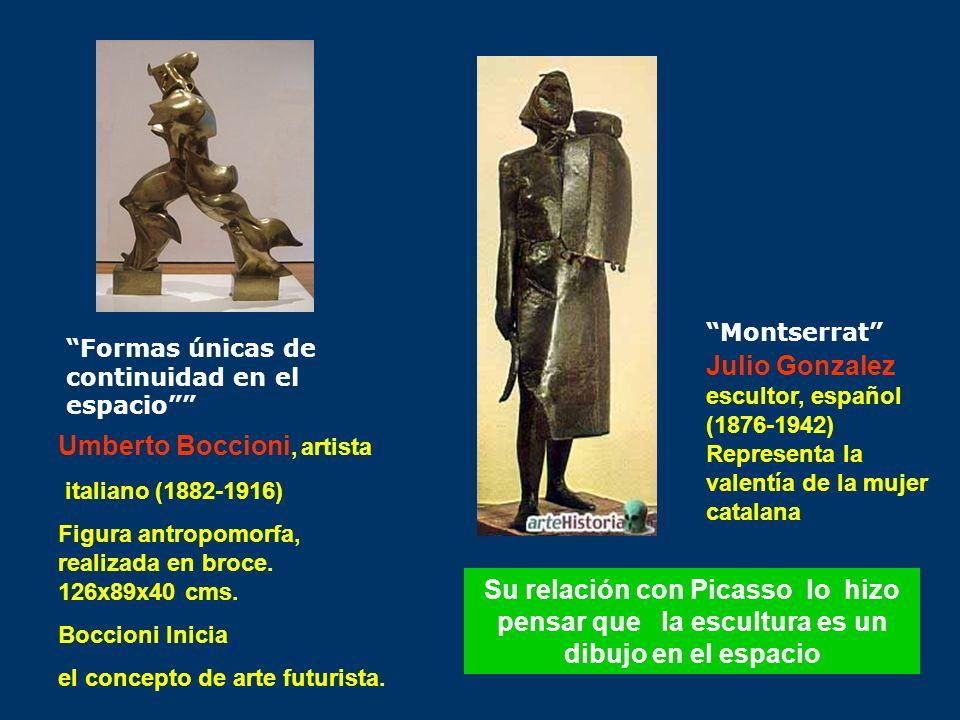 Umberto Boccioni, artista italiano (1882-1916) Figura antropomorfa, realizada en broce. 126x89x40 cms. Boccioni Inicia el concepto de arte futurista.