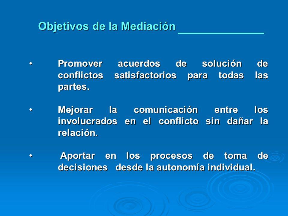 Promover acuerdos de solución de conflictos satisfactorios para todas las partes.Promover acuerdos de solución de conflictos satisfactorios para todas las partes.