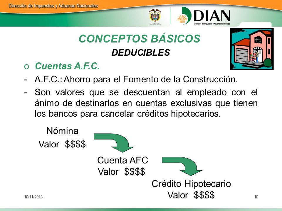 10/11/201310 oCuentas A.F.C. -A.F.C.: Ahorro para el Fomento de la Construcción. -Son valores que se descuentan al empleado con el ánimo de destinarlo