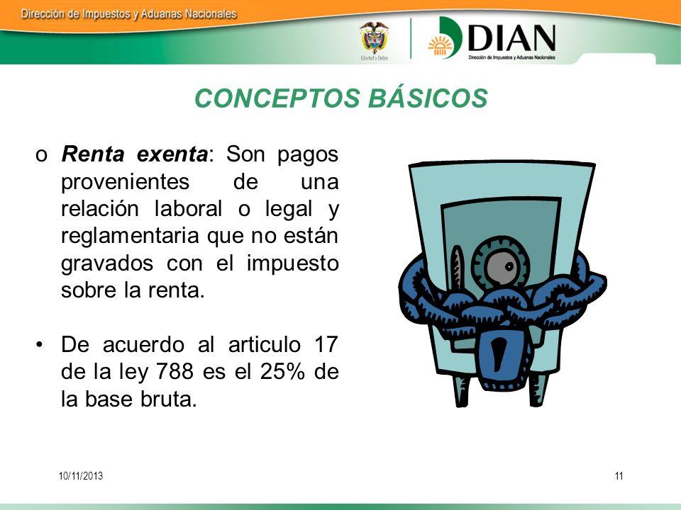 10/11/201311 oRenta exenta: Son pagos provenientes de una relación laboral o legal y reglamentaria que no están gravados con el impuesto sobre la rent