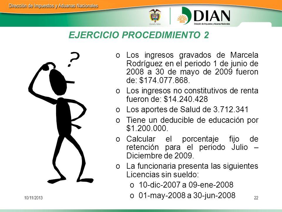 10/11/201322 oLos ingresos gravados de Marcela Rodríguez en el periodo 1 de junio de 2008 a 30 de mayo de 2009 fueron de: $174.077.868. oLos ingresos