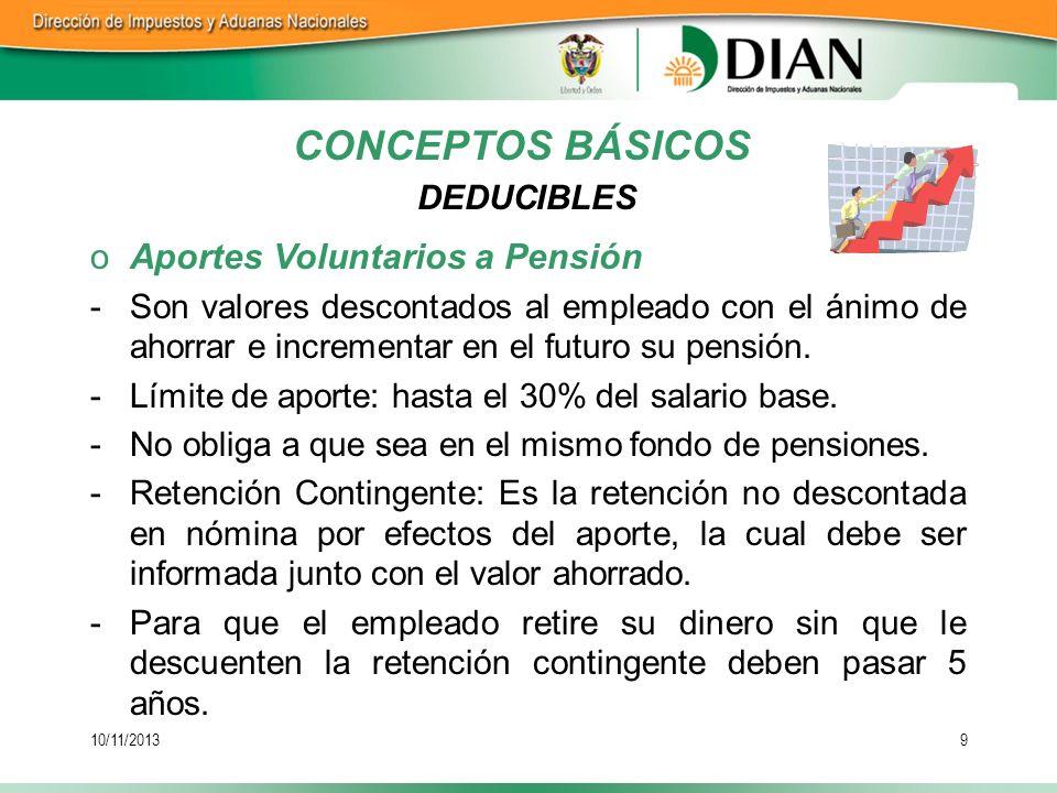 10/11/20139 oAportes Voluntarios a Pensión -Son valores descontados al empleado con el ánimo de ahorrar e incrementar en el futuro su pensión. -Límite