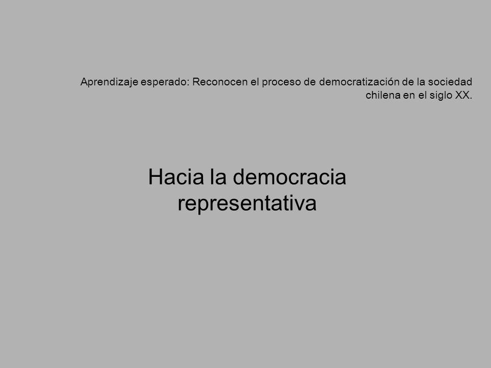 Aprendizaje esperado: Reconocen el proceso de democratización de la sociedad chilena en el siglo XX. Hacia la democracia representativa