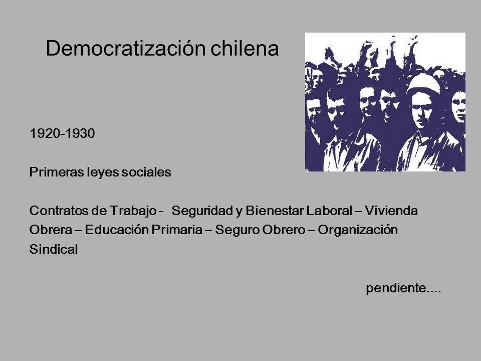 Democratización chilena 1920-1930 Primeras leyes sociales Contratos de Trabajo - Seguridad y Bienestar Laboral – Vivienda Obrera – Educación Primaria