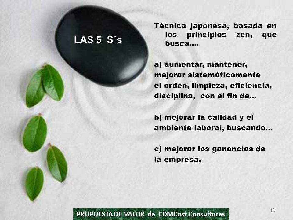 Técnica japonesa, basada en los principios zen, que busca…. a) aumentar, mantener, mejorar sistemáticamente el orden, limpieza, eficiencia, disciplina