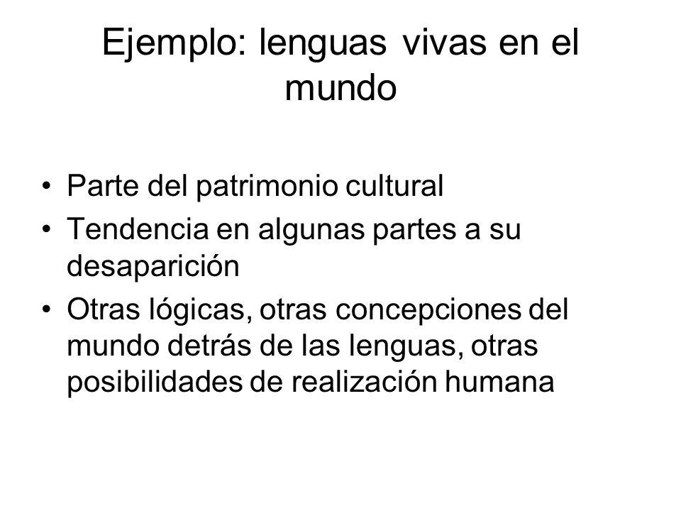 Ejemplo: lenguas vivas en el mundo Parte del patrimonio cultural Tendencia en algunas partes a su desaparición Otras lógicas, otras concepciones del m