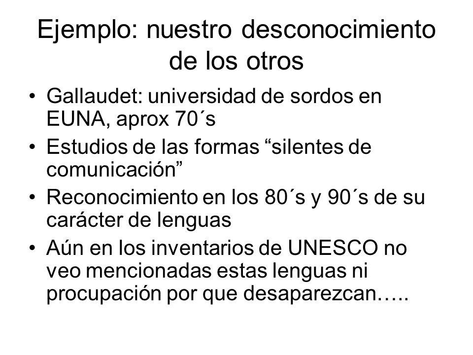 Ejemplo: nuestro desconocimiento de los otros Gallaudet: universidad de sordos en EUNA, aprox 70´s Estudios de las formas silentes de comunicación Rec