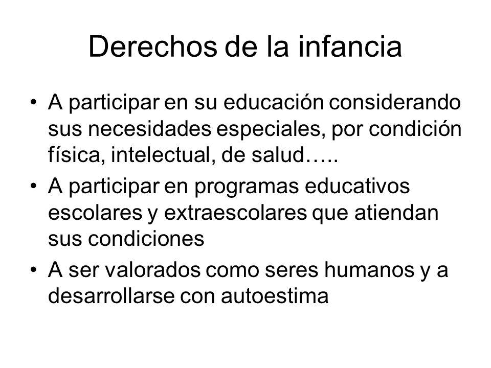 Derechos de la infancia A participar en su educación considerando sus necesidades especiales, por condición física, intelectual, de salud….. A partici