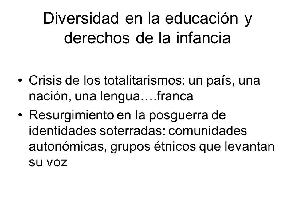 Diversidad en la educación y derechos de la infancia Crisis de los totalitarismos: un país, una nación, una lengua….franca Resurgimiento en la posguer