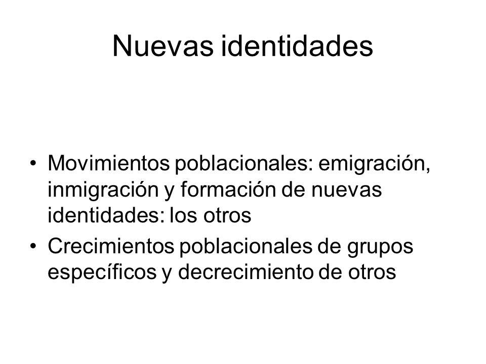 Nuevas identidades Movimientos poblacionales: emigración, inmigración y formación de nuevas identidades: los otros Crecimientos poblacionales de grupo