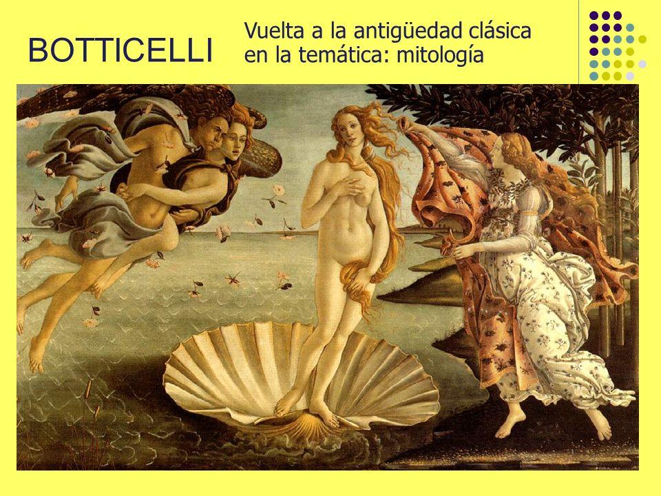BOTTICELLI Vuelta a la antigüedad clásica en la temática: mitología