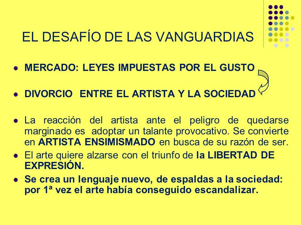 EL DESAFÍO DE LAS VANGUARDIAS MERCADO: LEYES IMPUESTAS POR EL GUSTO DIVORCIO ENTRE EL ARTISTA Y LA SOCIEDAD La reacción del artista ante el peligro de