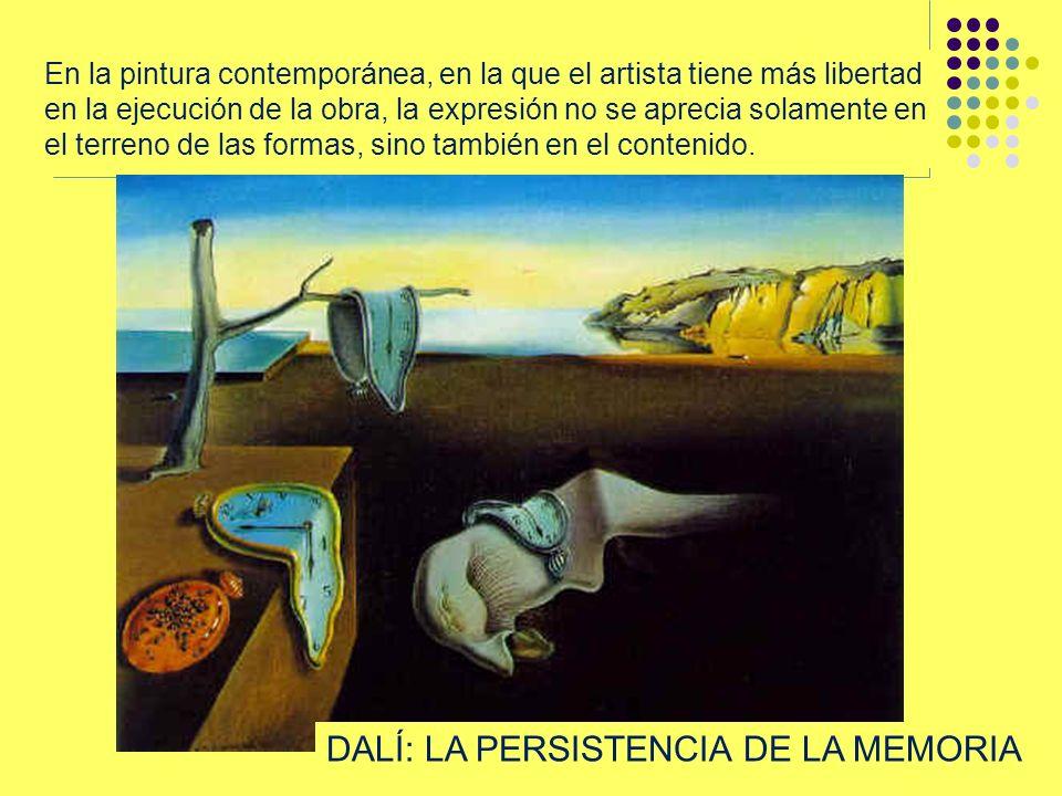 En la pintura contemporánea, en la que el artista tiene más libertad en la ejecución de la obra, la expresión no se aprecia solamente en el terreno de