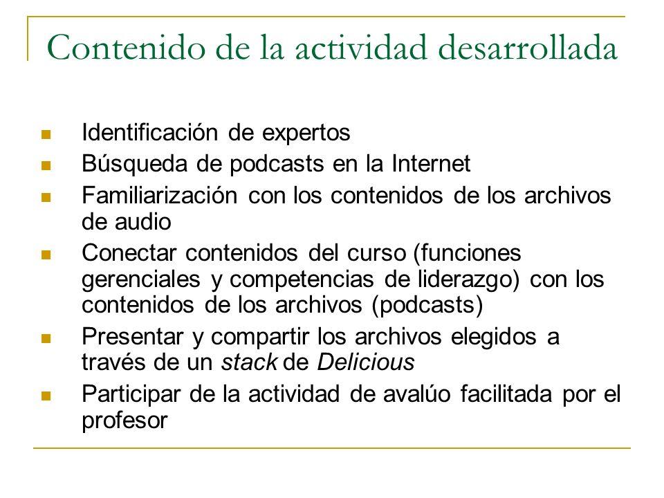 Contenido de la actividad desarrollada Identificación de expertos Búsqueda de podcasts en la Internet Familiarización con los contenidos de los archivos de audio Conectar contenidos del curso (funciones gerenciales y competencias de liderazgo) con los contenidos de los archivos (podcasts) Presentar y compartir los archivos elegidos a través de un stack de Delicious Participar de la actividad de avalúo facilitada por el profesor