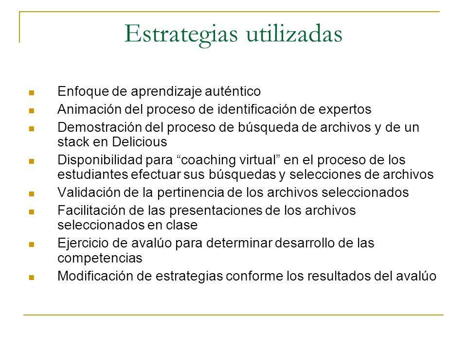 Estrategias utilizadas Enfoque de aprendizaje auténtico Animación del proceso de identificación de expertos Demostración del proceso de búsqueda de ar