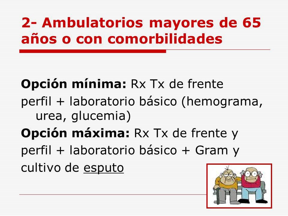 2- Ambulatorios mayores de 65 años o con comorbilidades Opción mínima: Rx Tx de frente perfil + laboratorio básico (hemograma, urea, glucemia) Opción