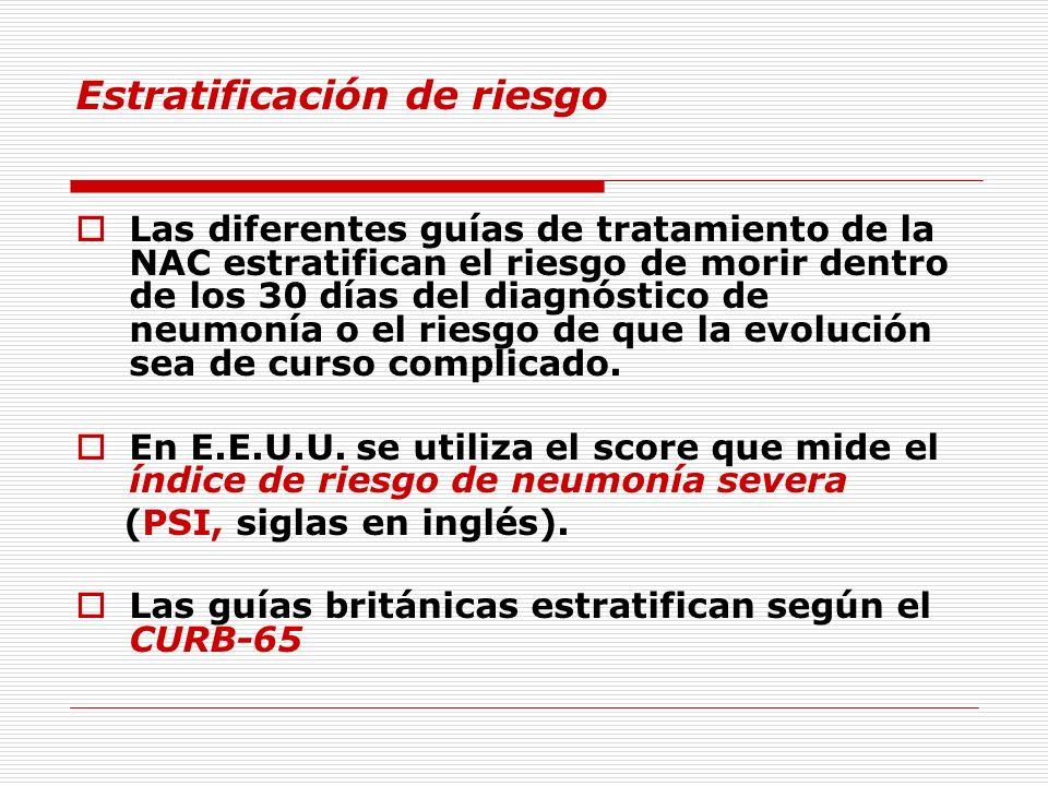 Estratificación de riesgo Las diferentes guías de tratamiento de la NAC estratifican el riesgo de morir dentro de los 30 días del diagnóstico de neumo