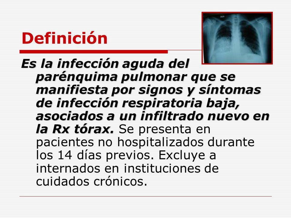 Definición Es la infección aguda del parénquima pulmonar que se manifiesta por signos y síntomas de infección respiratoria baja, asociados a un infilt