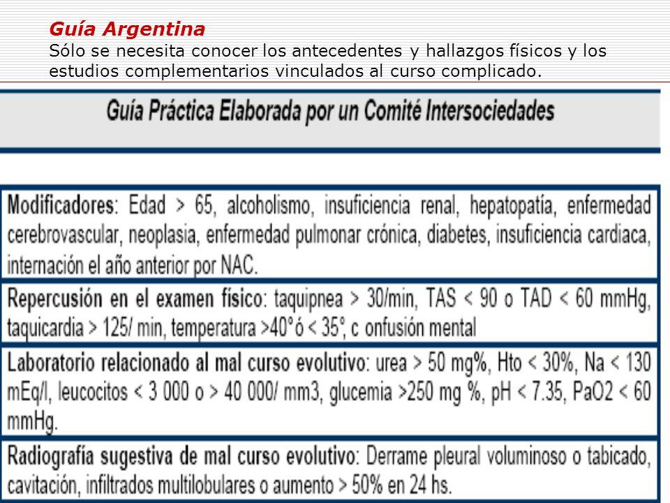 Guía Argentina Sólo se necesita conocer los antecedentes y hallazgos físicos y los estudios complementarios vinculados al curso complicado.
