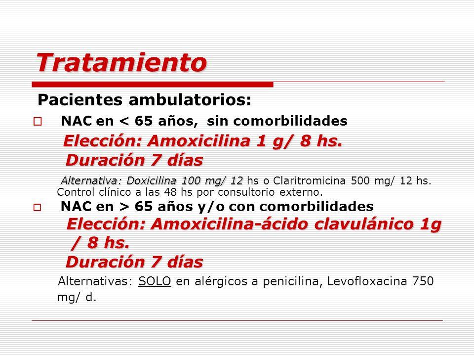 Tratamiento Pacientes ambulatorios: NAC en < 65 años, sin comorbilidades Elección: Amoxicilina 1 g/ 8 hs. Duración 7 días Duración 7 días Alternativa: