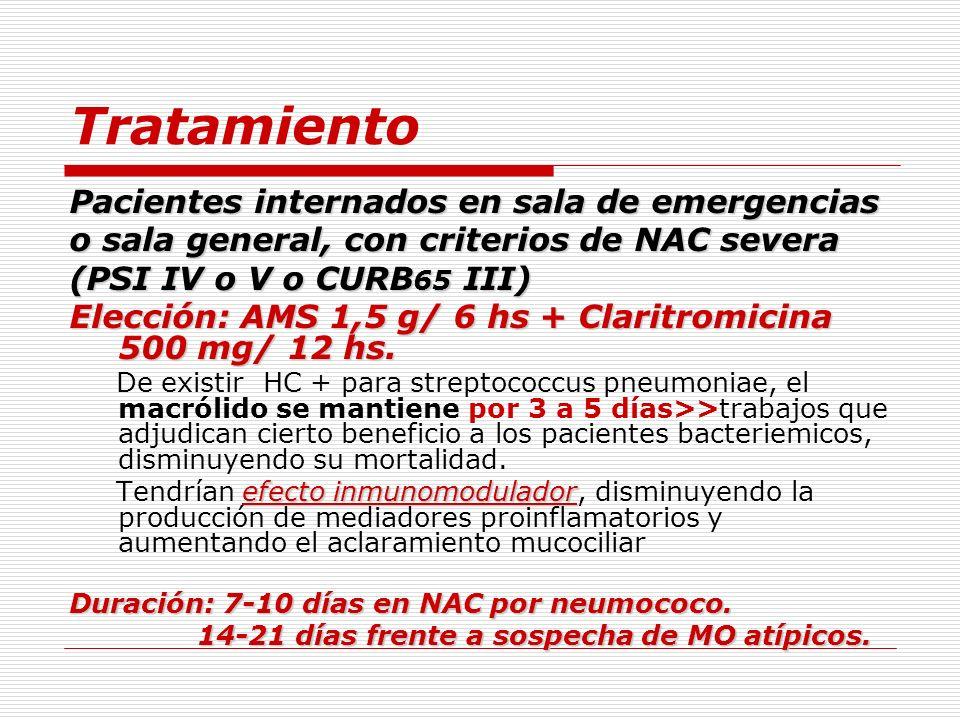 Tratamiento Pacientes internados en sala de emergencias o sala general, con criterios de NAC severa (PSI IV o V o CURB 65 III) Elección: AMS 1,5 g/ 6