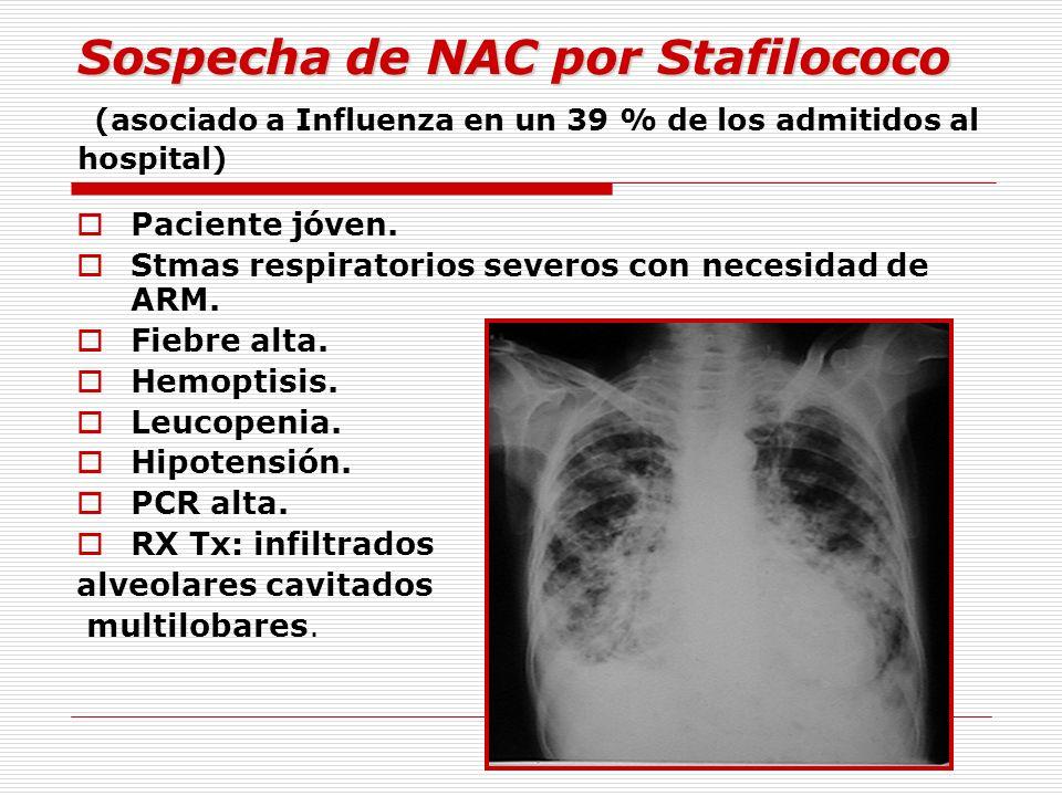 Sospecha de NAC por Stafilococo Sospecha de NAC por Stafilococo (asociado a Influenza en un 39 % de los admitidos al hospital) Paciente jóven. Stmas r