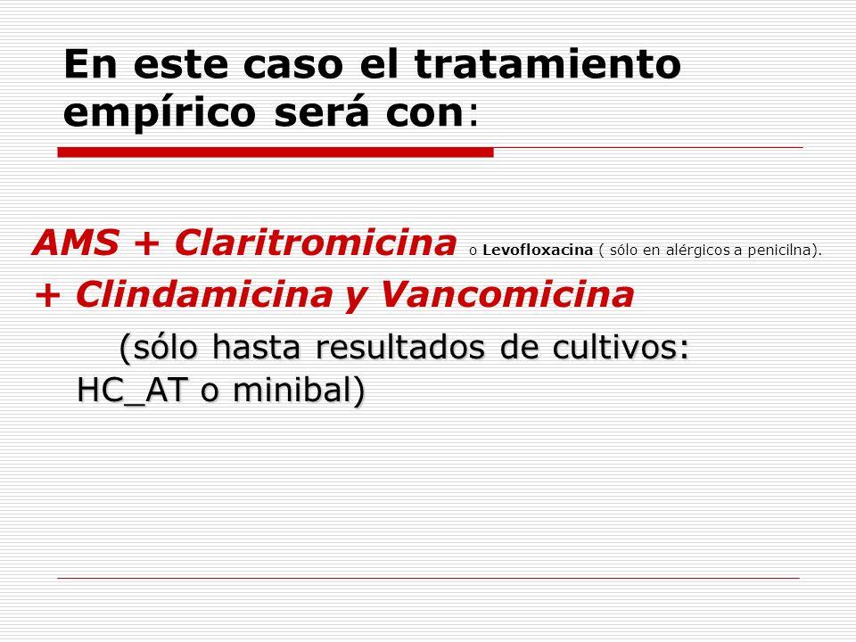 En este caso el tratamiento empírico será con: AMS + Claritromicina o Levofloxacina ( sólo en alérgicos a penicilna). + Clindamicina y Vancomicina (só