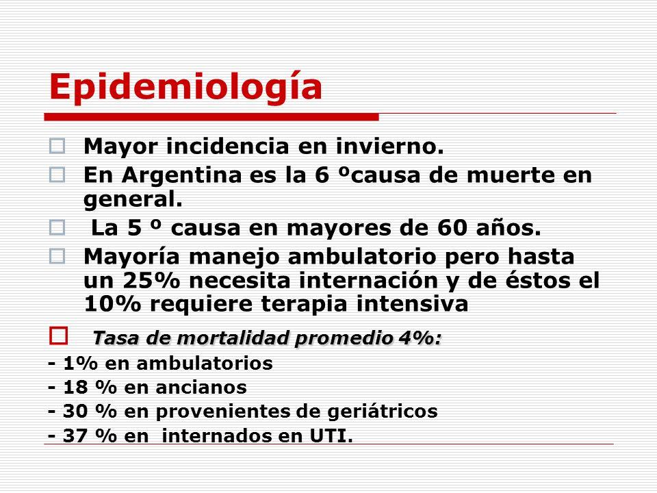 Epidemiología Mayor incidencia en invierno. En Argentina es la 6 ºcausa de muerte en general. La 5 º causa en mayores de 60 años. Mayoría manejo ambul