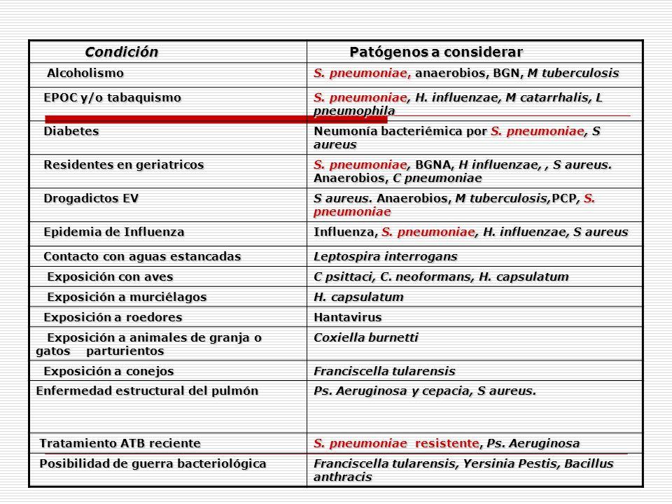Condición Condición Patógenos a considerar Patógenos a considerar Alcoholismo Alcoholismo S. pneumoniae, anaerobios, BGN, M tuberculosis EPOC y/o taba
