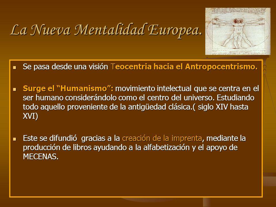 La Nueva Mentalidad Europea. Se pasa desde una visión Teocentria hacia el Antropocentrismo. Se pasa desde una visión Teocentria hacia el Antropocentri