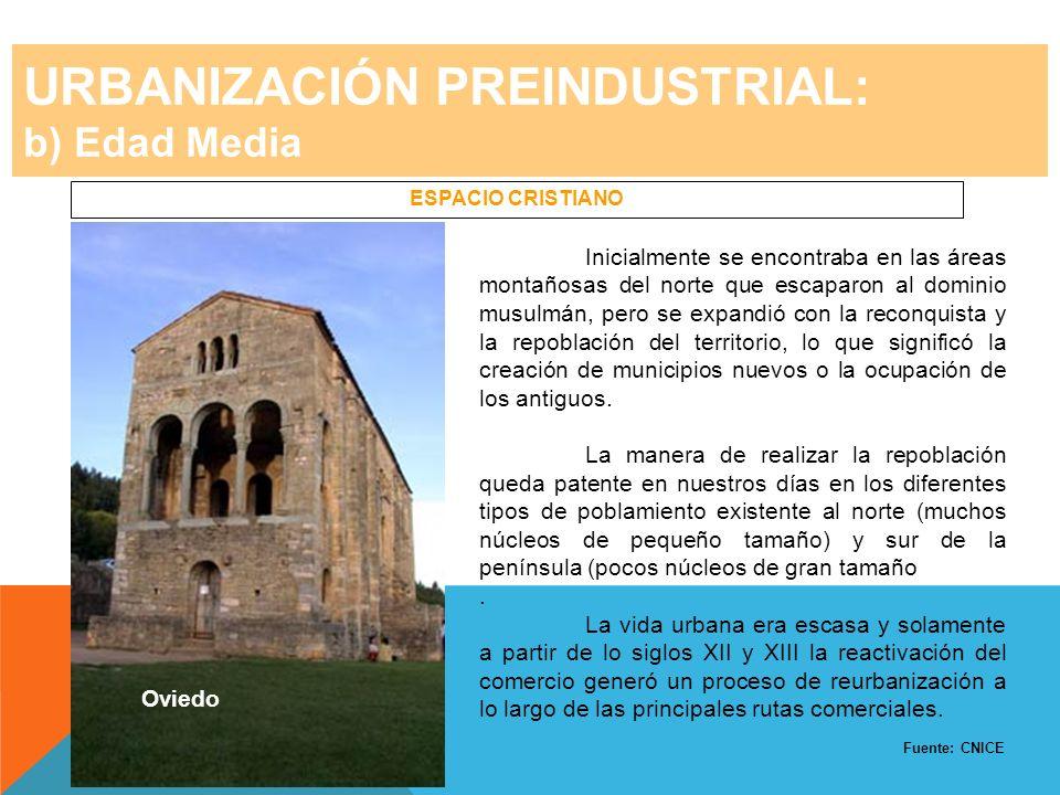 URBANIZACIÓN PREINDUSTRIAL: b) Edad Media ESPACIO CRISTIANO Inicialmente se encontraba en las áreas montañosas del norte que escaparon al dominio musu