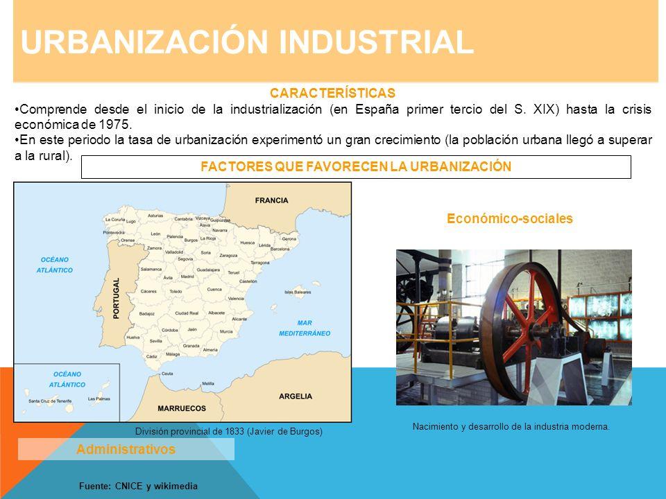 URBANIZACIÓN INDUSTRIAL CARACTERÍSTICAS Comprende desde el inicio de la industrialización (en España primer tercio del S. XIX) hasta la crisis económi