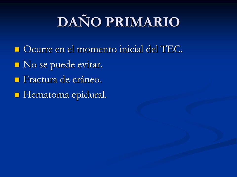 DAÑO PRIMARIO Ocurre en el momento inicial del TEC. Ocurre en el momento inicial del TEC. No se puede evitar. No se puede evitar. Fractura de cráneo.