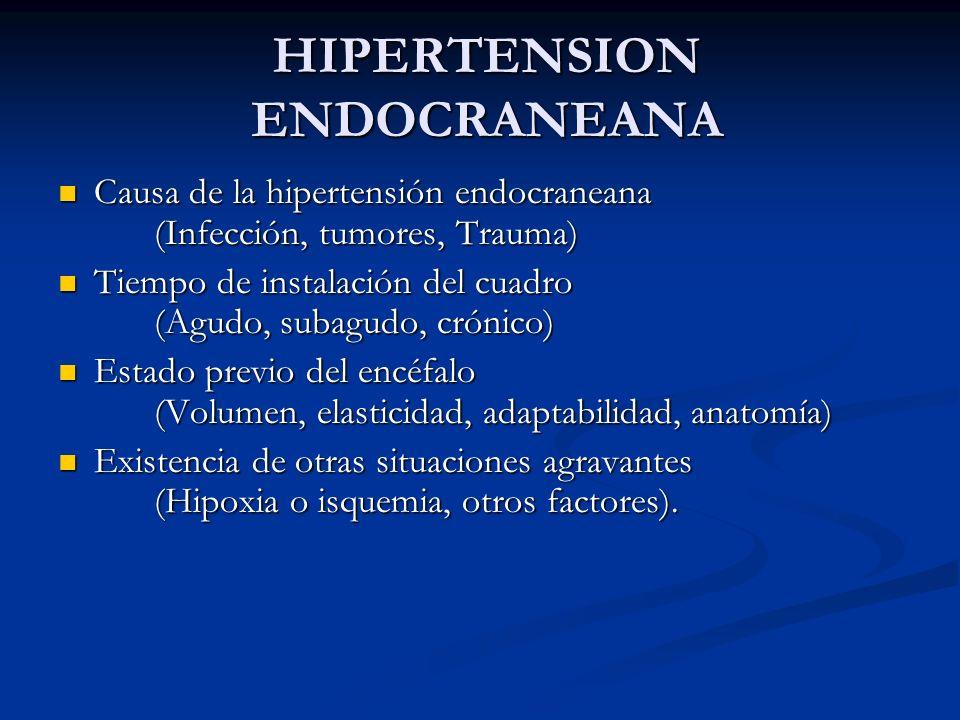 HIPERTENSION ENDOCRANEANA Causa de la hipertensión endocraneana (Infección, tumores, Trauma) Causa de la hipertensión endocraneana (Infección, tumores, Trauma) Tiempo de instalación del cuadro (Agudo, subagudo, crónico) Tiempo de instalación del cuadro (Agudo, subagudo, crónico) Estado previo del encéfalo (Volumen, elasticidad, adaptabilidad, anatomía) Estado previo del encéfalo (Volumen, elasticidad, adaptabilidad, anatomía) Existencia de otras situaciones agravantes (Hipoxia o isquemia, otros factores).