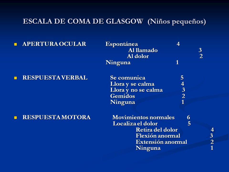 ESCALA DE COMA DE GLASGOW (Niños pequeños) APERTURA OCULAR Espontánea 4 Al llamado 3 Al dolor 2 Ninguna 1 APERTURA OCULAR Espontánea 4 Al llamado 3 Al
