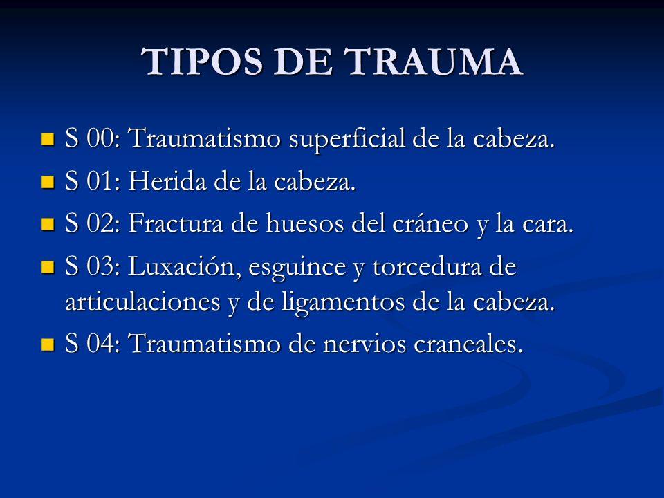 TIPOS DE TRAUMA S 00: Traumatismo superficial de la cabeza. S 00: Traumatismo superficial de la cabeza. S 01: Herida de la cabeza. S 01: Herida de la