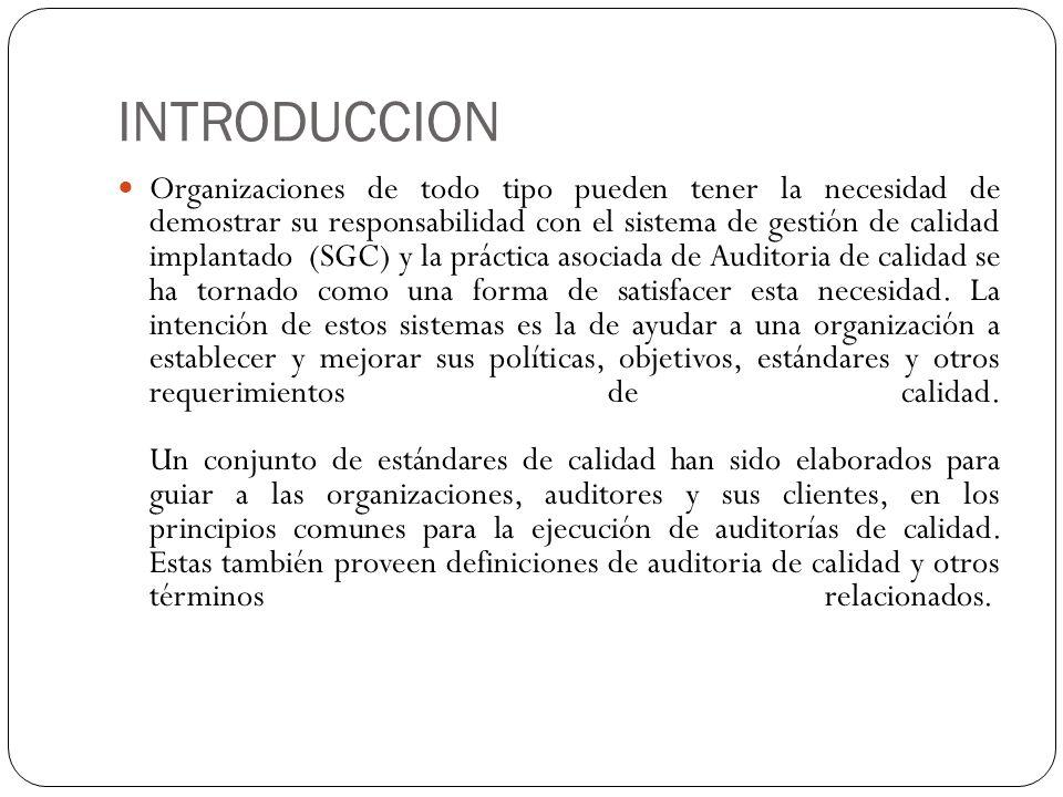 Hasta el momento la serie de estándares en este campo de la auditoria de calidad incluye: La norma 9000:2000 La 9001:2000 ISO 9001:1994.etc.