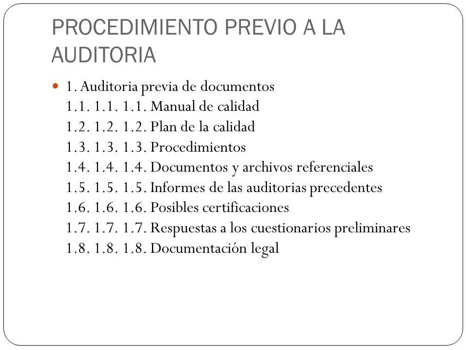PROCEDIMIENTO PREVIO A LA AUDITORIA 1. Auditoria previa de documentos 1.1. 1.1. 1.1. Manual de calidad 1.2. 1.2. 1.2. Plan de la calidad 1.3. 1.3. 1.3